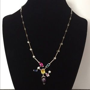 Jewelry - Asymmetrical necklace with multi color stones.